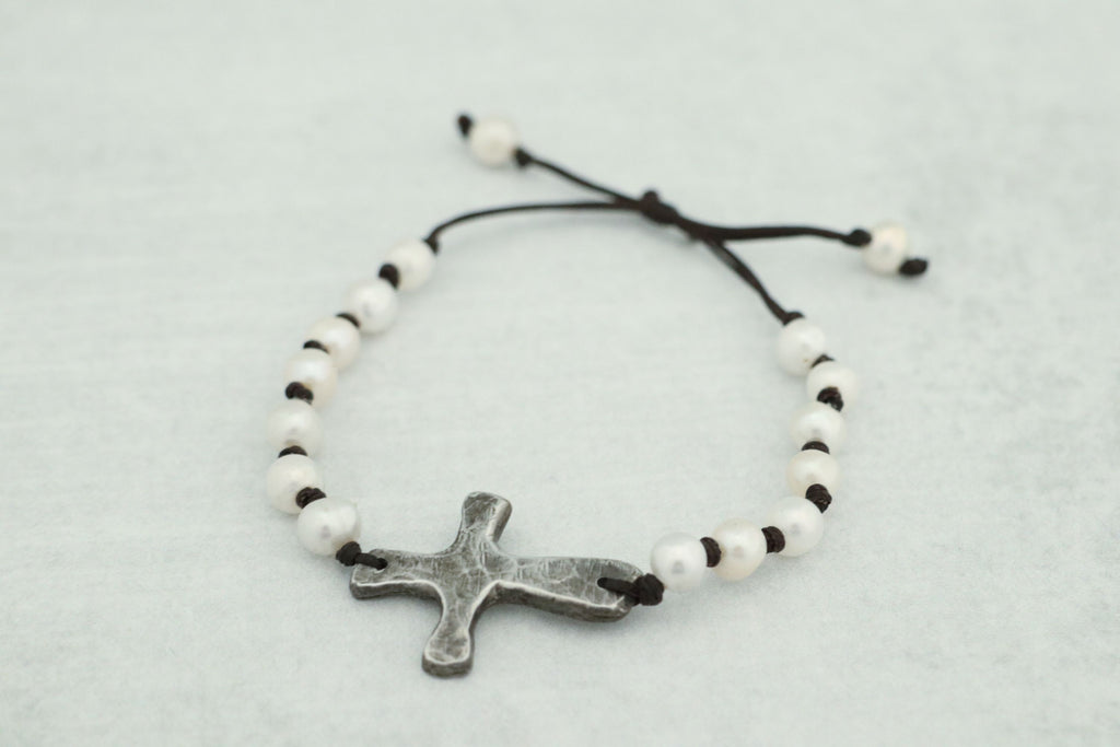 Beautiful Cast Pewter Cross w/ Freshwater Pearls