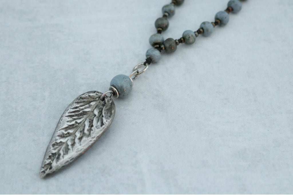 Hand Cast Pewter Leaf on Gorgeous Ceramic Beads