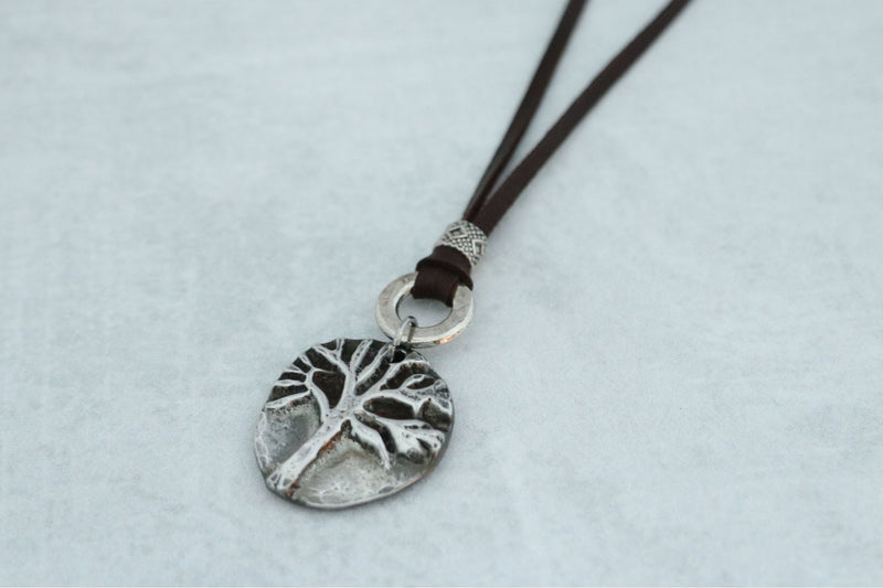 Hand Cast Pewter Tree Pendant
