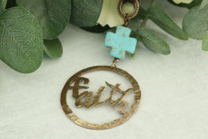 Hand Cut Bronze Faith Pendant