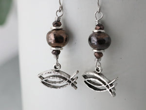 CBS Logo Earring w/ Bronze Ceramic Bead