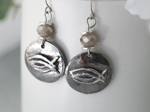 CBS Hand Cast Pewter Logo Earring w/ Taupe Crystal