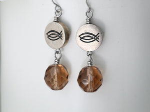 CBS Logo Czech Glass Earring