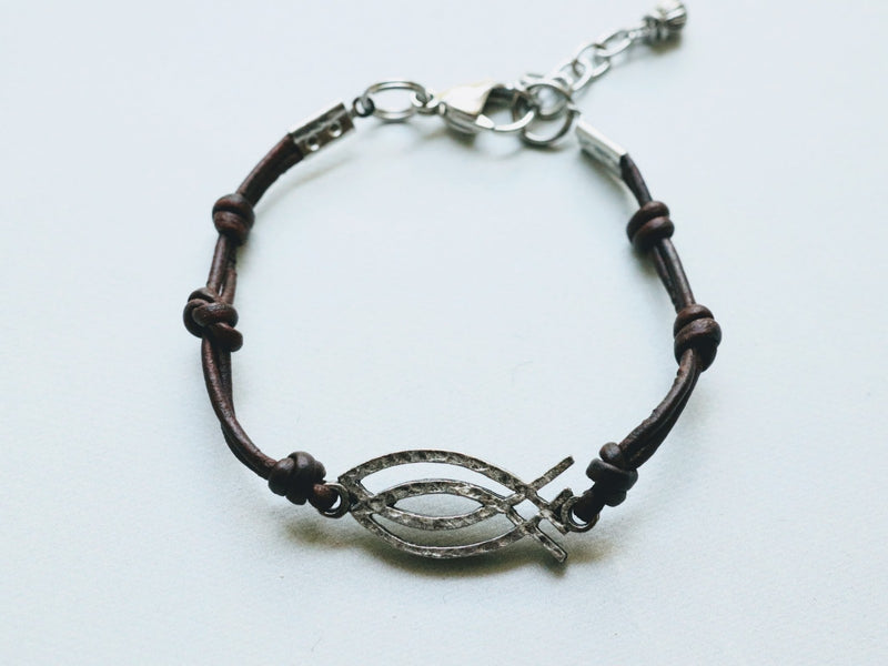 CBS Bracelet Pewter Charm on Leather