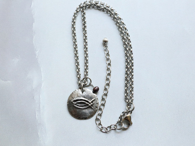 CBS Cast Pewter Pendant on a Stainless Steel Chain w/ Pearl Dangle