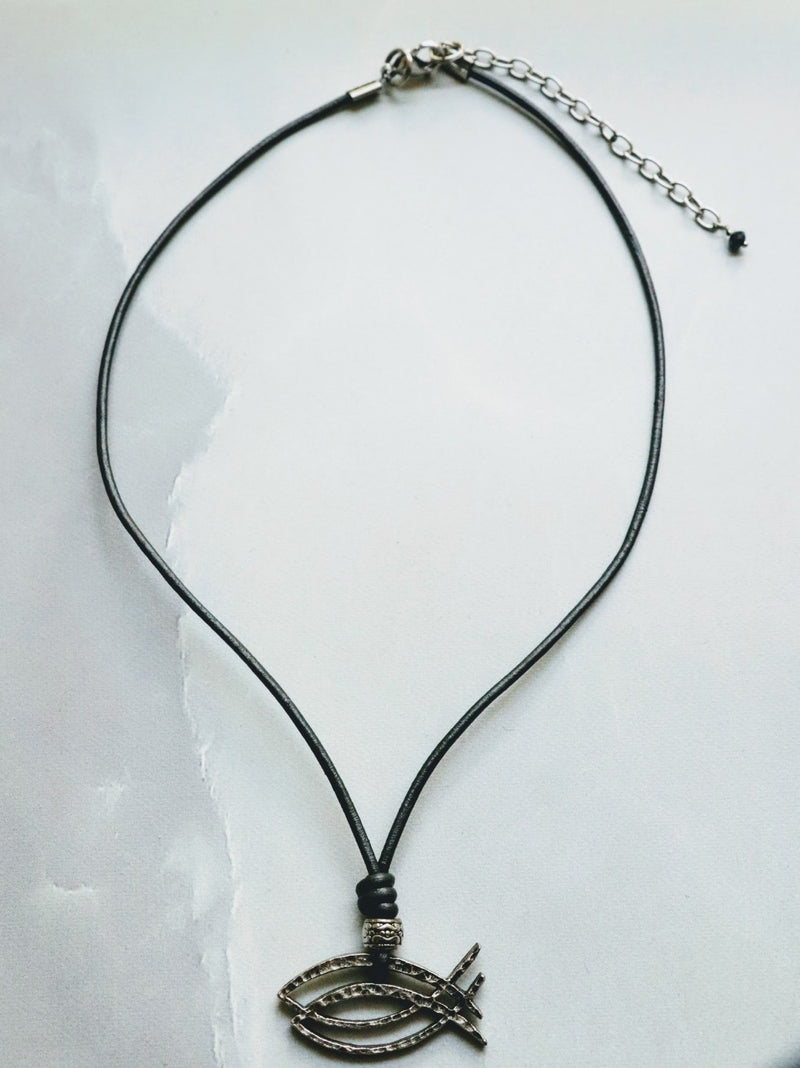 CBS Logo Necklace on Gunmetal Leather