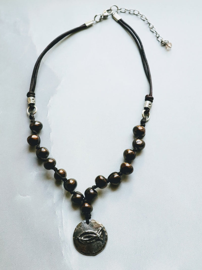 CBS Cast Pewter Pendant on Handknotted Swaziland Ceramic Beads