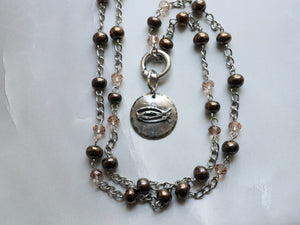 CBS Cast Pewter Pendant (removable) on A Long Bronze Swaziland Ceramic Bead Necklace