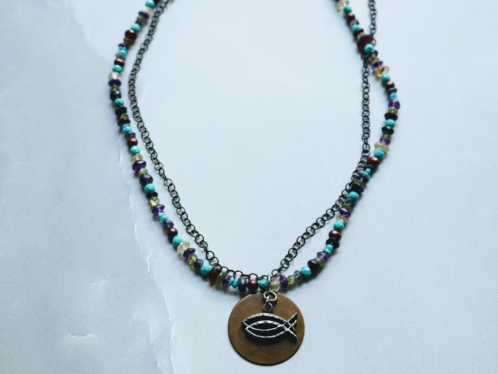 CBS Logo Necklace w/ Multi Colored Gemstones