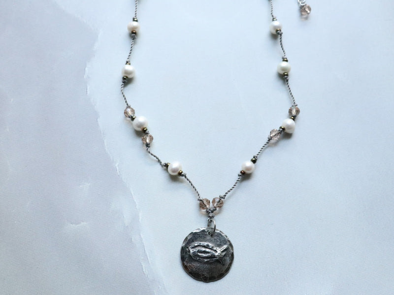 CBS Cast Pewter Pendant on Handknotted Freshwater Pearls & Crystal