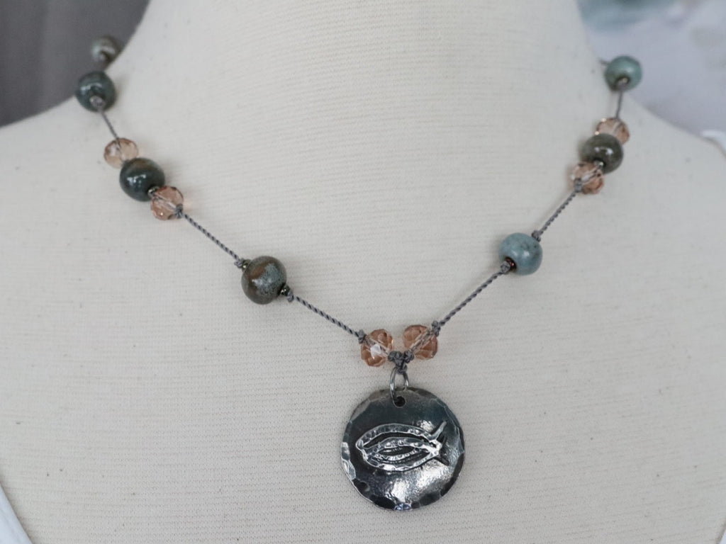 CBS Cast Pewter Pendant on Handknotted Sea Moss Swaziland Ceramic Beads