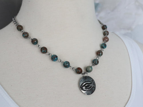 CBS Cast Pewter Pendant on Jasper Beads & Stainless Steel Chain
