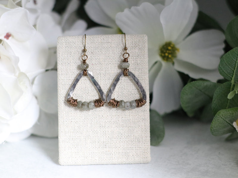 Cast Pewter Triangle & Labradorite Earrings