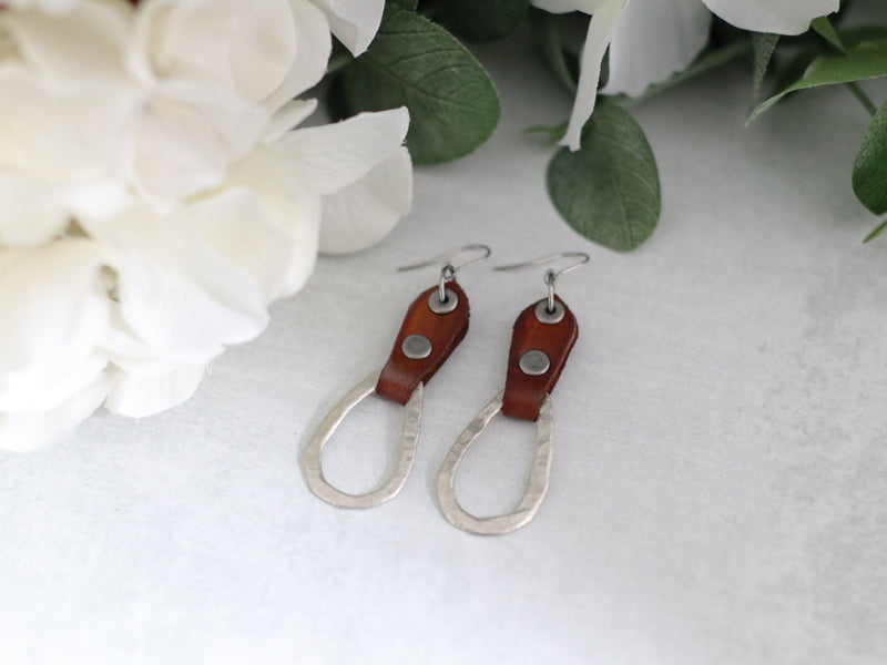 Double Riveted Leather & Tear Drop Pewter Earrings