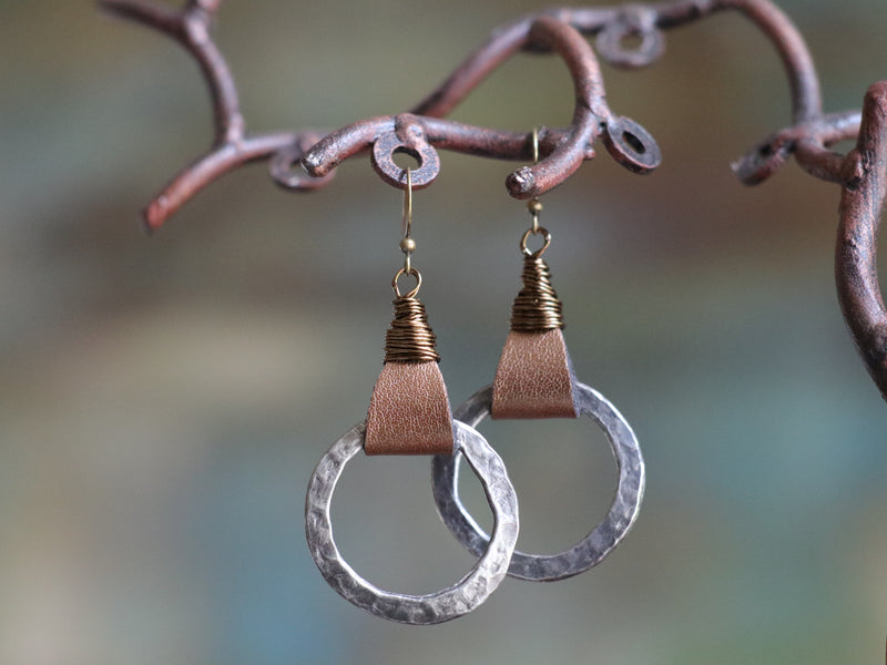 Wire Wrapped Bronze Leather & Pewter Earrings
