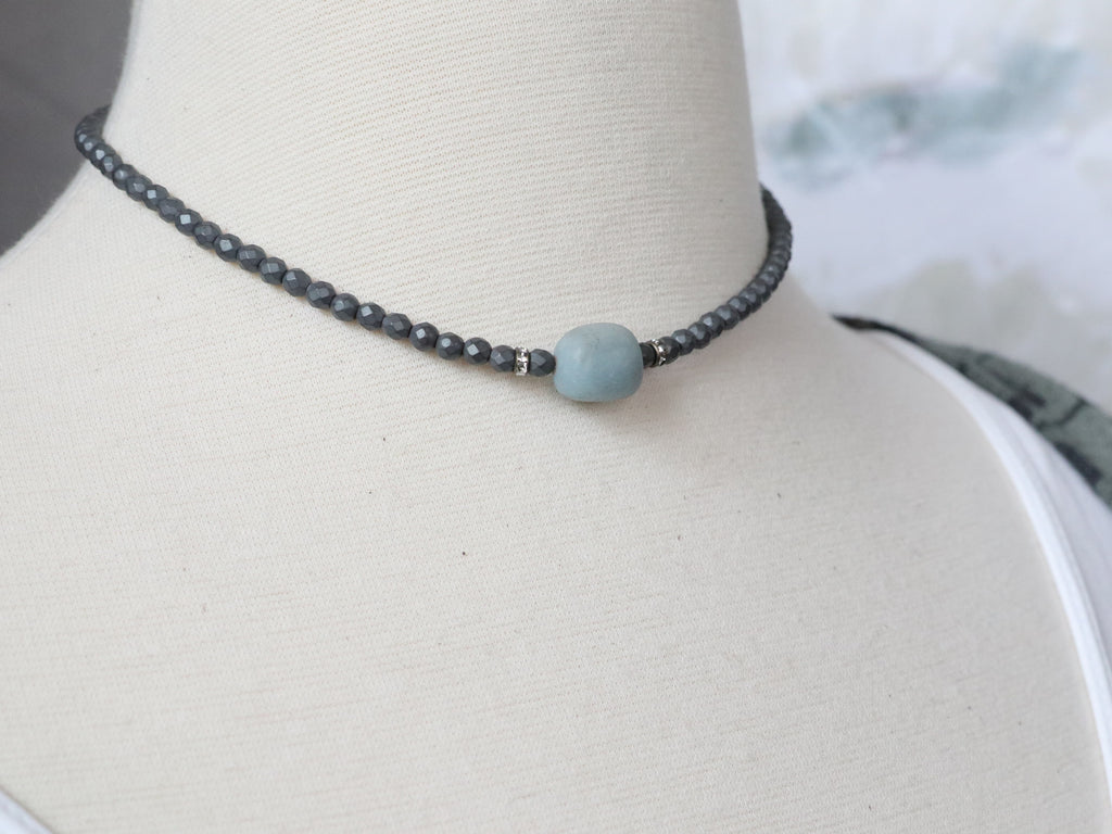 Amazonite & Grey Hematite Choker