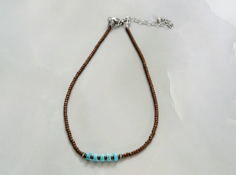 Turquoise & Faceted Copper Bead Choker
