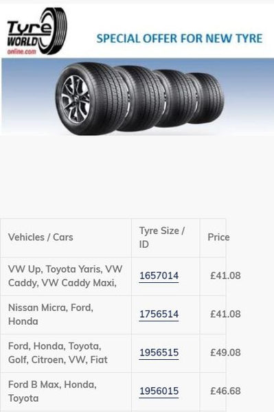 tyreworldonline Weekly Tyre Deals by car type