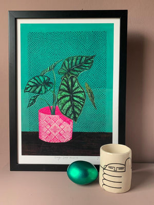 "EX-DISPLAY ""Dragon Scale Alocasia"" A3 Fine Art Giclée print - by Jojo Bedell"