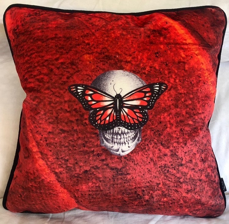 Limited Edition Red Velvet Cushion - by Emily Penfold