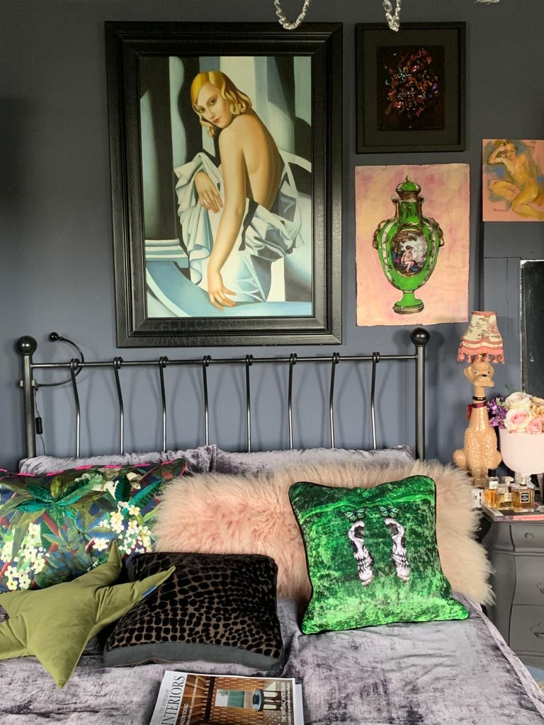 Limited Edition Green Velvet Cushion - by Emily Penfold