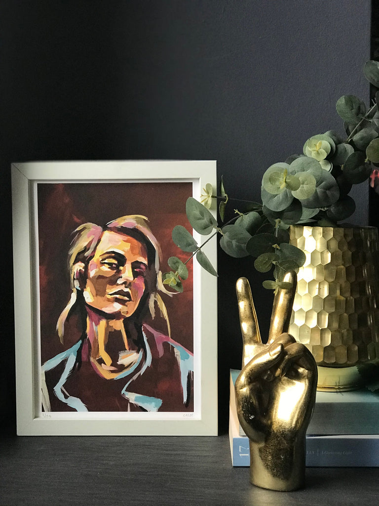 "Oneoffto25.com ""Dark Red"" - Hand embellished limited edition print with brown dark red and light blue tones"