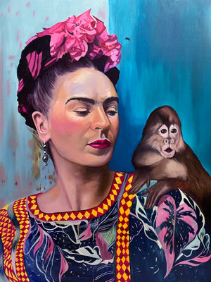 """Frida and Her Monkey"" Limited Edition Print - by Amanda Mulquiney-Birbeck"