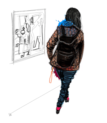 Young woman wearing a backpack and  coat  walking through an art gallery