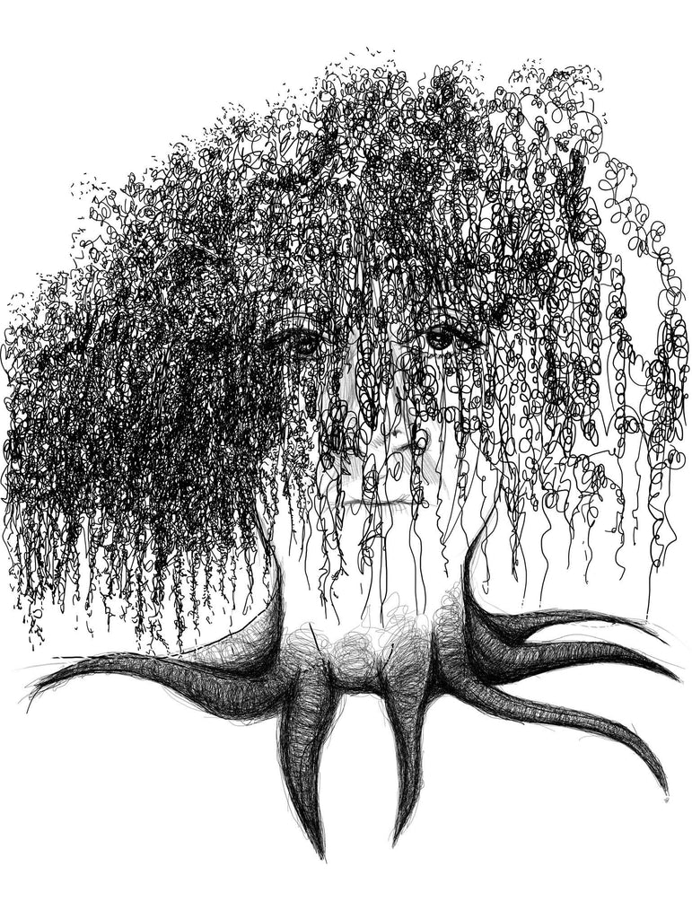 Black and white willow tree and self portrait print of artist Sara Hurley