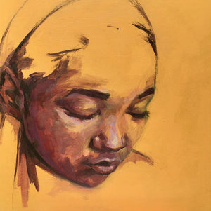 Beautiful young black woman looking down. Colours includes ochre and browns.