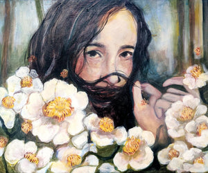 Oneoffto25.com But I have infinite tenderness for you Painting by Janet Stocker. Floral artwork. Female artwork.