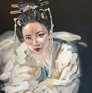 Print of young beautiful geisha woman in cream clothing and glittering headdress.