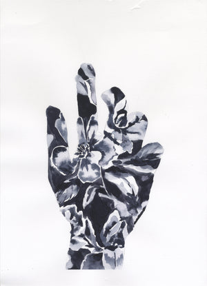 Original Ink Painting Floral Hand Study - by Jojo Bedell