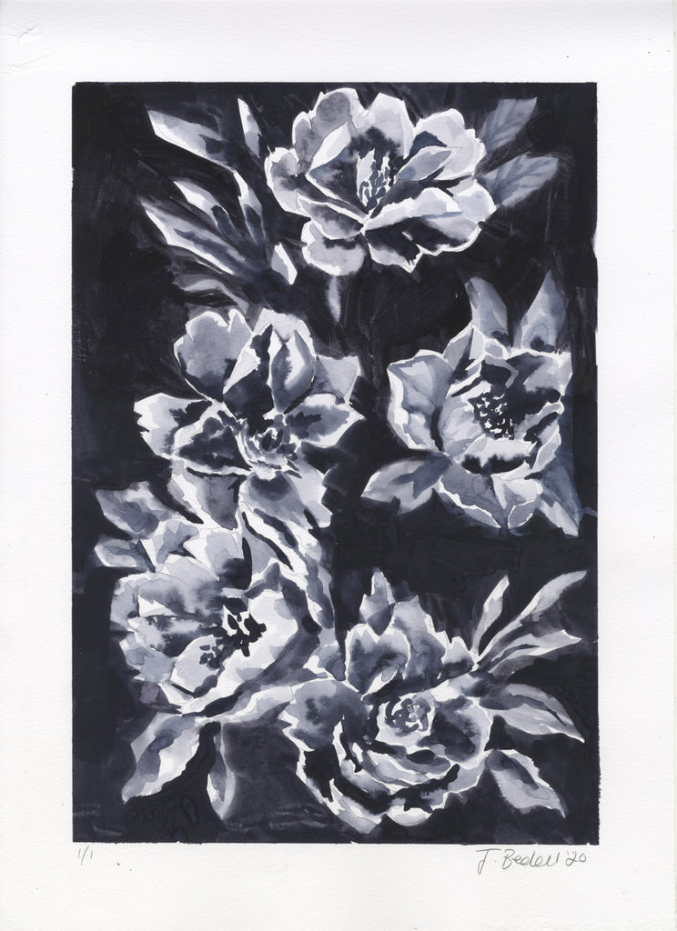 Original Ink Painting Floral Study - by Jojo Bedell