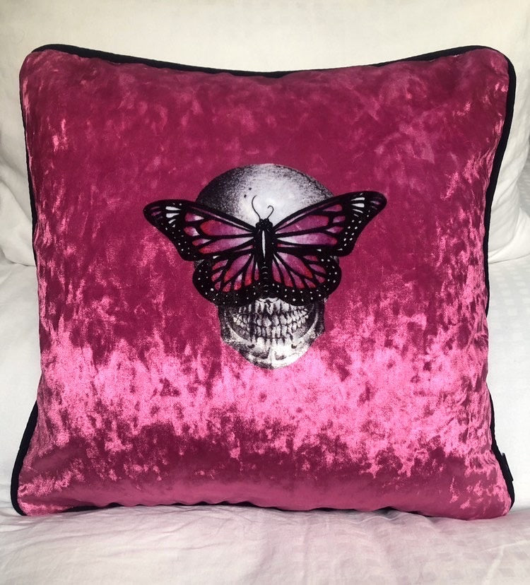 Limited Edition Pink Velvet Cushion - by Emily Penfold