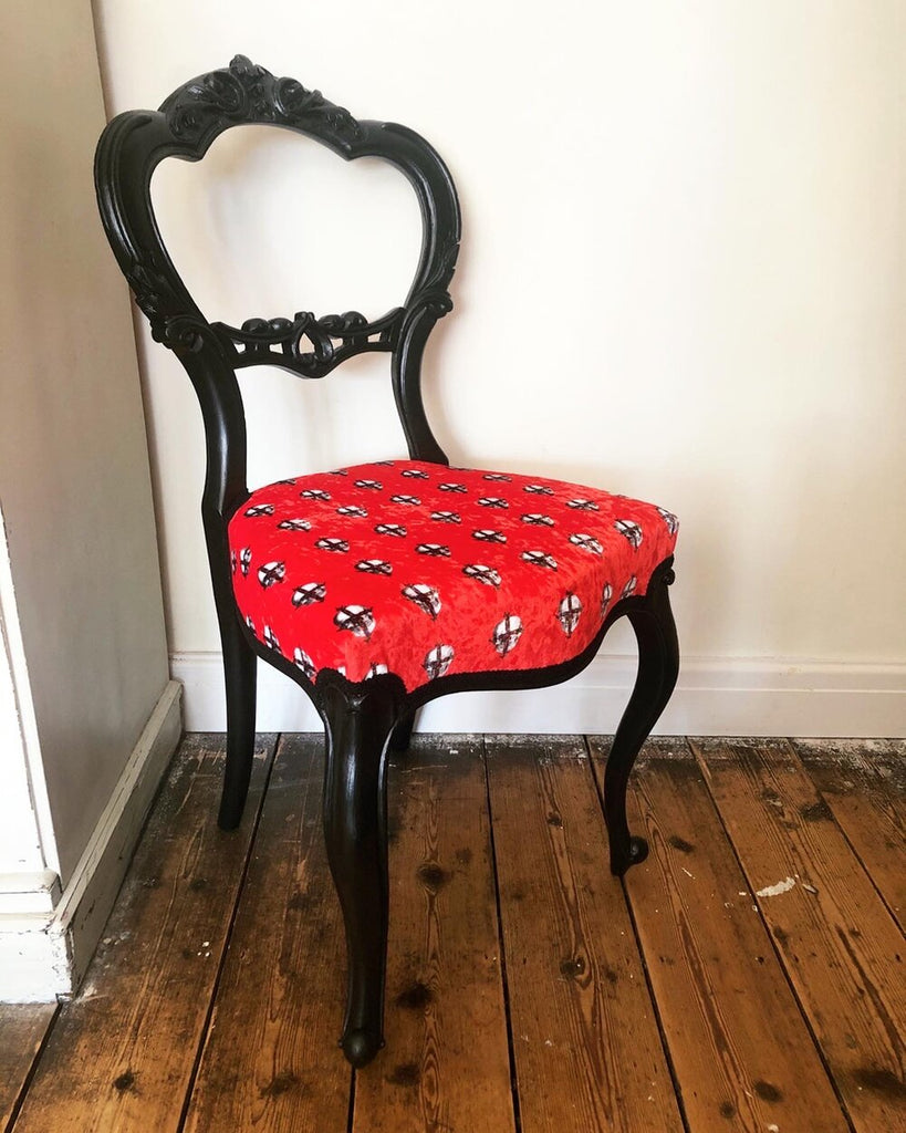 Furniture Art - One off Red Velvet Chair by Emily Penfold