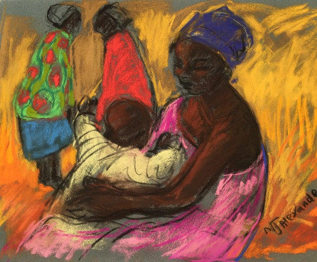 African Mother with her young child featuring the colours pink, orange, red, green and brown.