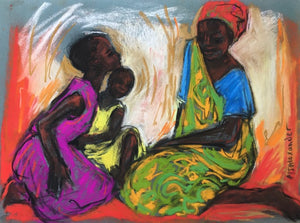African Mother sitting with her young children. Featuring the colours red, pink, yellow, green, blue and brown.