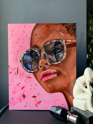 Oneoffto25.com - Cat Eyes Confetti Original Oil Painting of young woman wearing sunglasses by Amanda Mulquiney-Birbeck