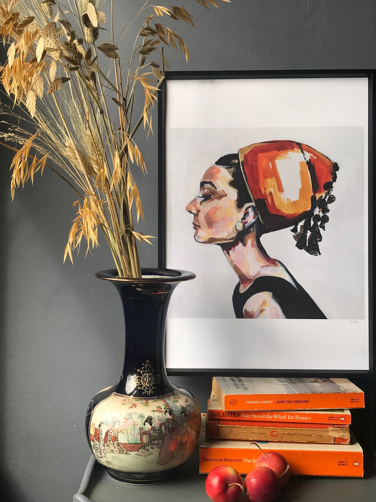 Oneoffto25.com Audrey A3 black and orange print by Flo Lee & Co. Art for your home.