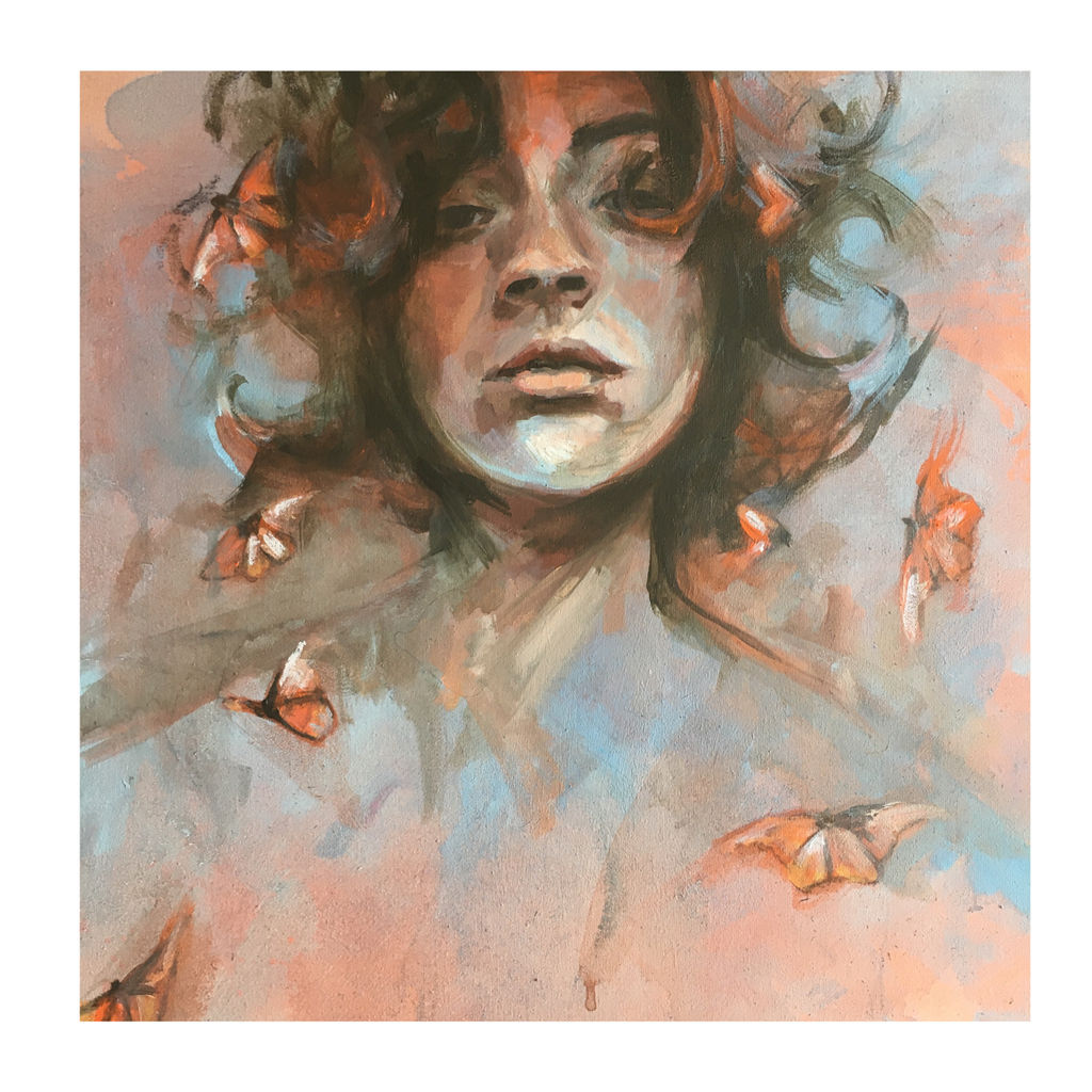 Oneoffto25.com Butterfly Thoughts Print by Flo Lee & Co. Pastel colours, butterfly artwork. Online art gallery Surrey.
