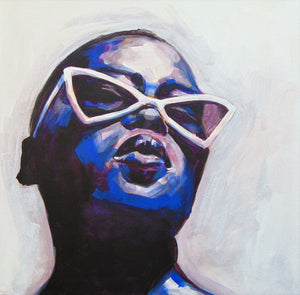 Oneoffto25.com Rebel # 3 Original Acrylic and Emulsion painting on canvas in deep blue tones by Flo Lee