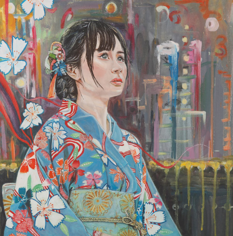 """Sakura"" - Limited Edition & Gold Hand Embellished Print by Rachael Khan"