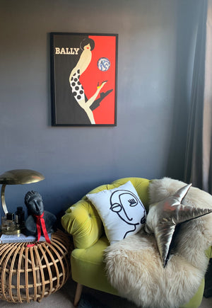 Oneoffto25.com Vintage Bally Kick artwork by Villemot. Affordable vintage art for art lovers.