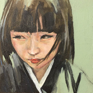 Mini portrait - Green Contemporary Original Painting by Flo Lee & Co