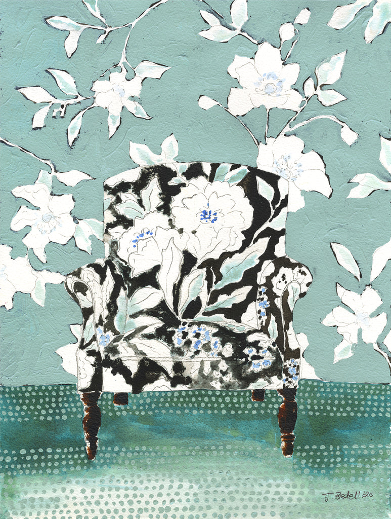 """Chair in Bloom"" Original Painting - by Jojo Bedell"