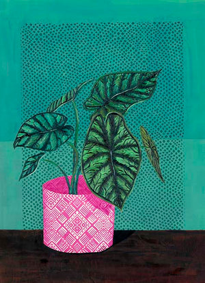 """Dragon Scale Alocasia "" Original Painting - by Jojo Bedell"