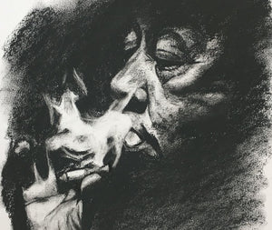 Oneoffto25.com Light Smoke A3 Original Charcoal Drawing by Flo Lee & Co. Very close up. Art and Interiors.