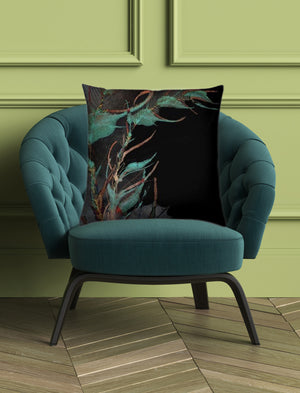 """Between Green leaves"" Velvet Cushion - by Francesca Skelhorn"