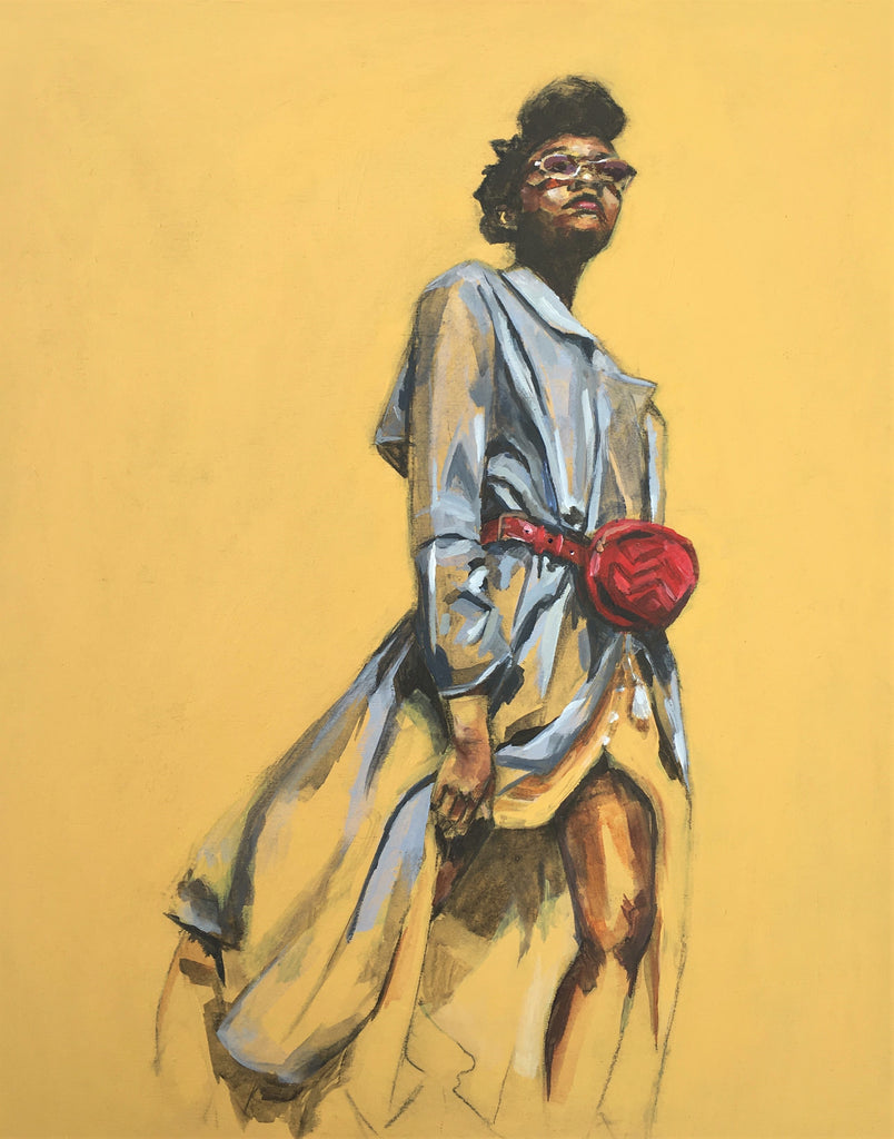 Ruby Painting by Flo Lee. Young black woman in white dress, reg bag on mustard / ochre coloured background